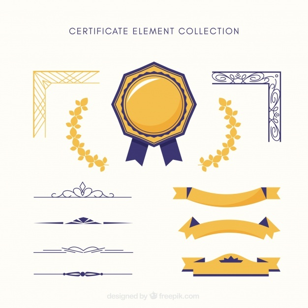Certificate elements collection in flat style