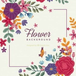 Creative flower background with frame concept