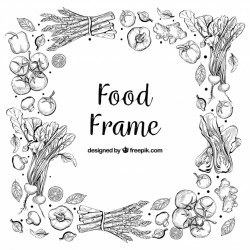Delicious food frame with hand drawn style