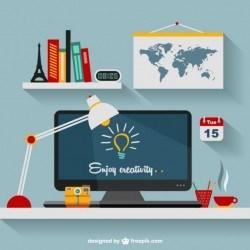 Designer's office flat illustration