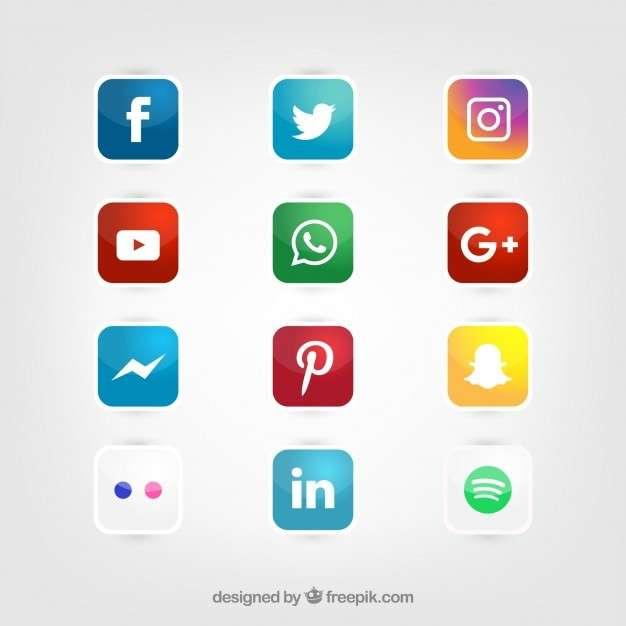 Glossy social media icons vector set