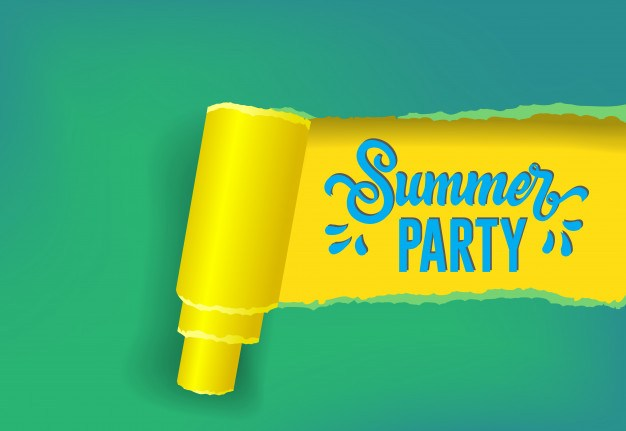 Summer party seasonal banner in yellow, green and blue colors