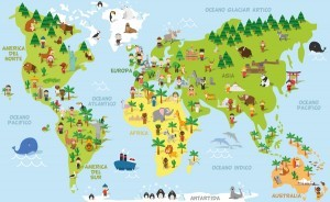 Travel world maps vector material