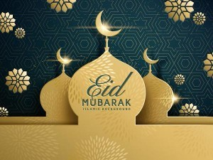 Eid mubarak dark background with golden building vector 01