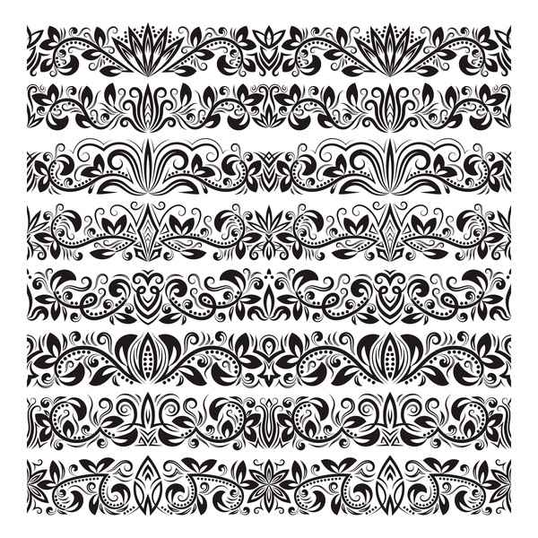Floral seamless border design vector set 04