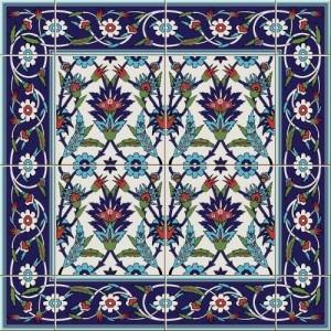 ceramic tile floral decor pattern vector