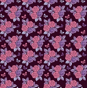 Vintage seamless pattern with roses on purple background vector