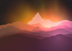 Mountain sunrise landscape nature background vector 07