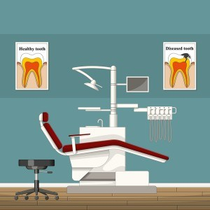 Tooth doctor and office design vector 04