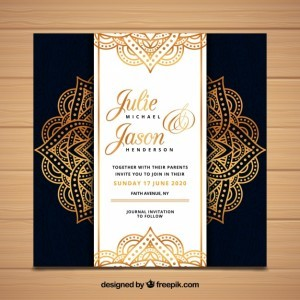 Luxury wedding invitation in mandala style