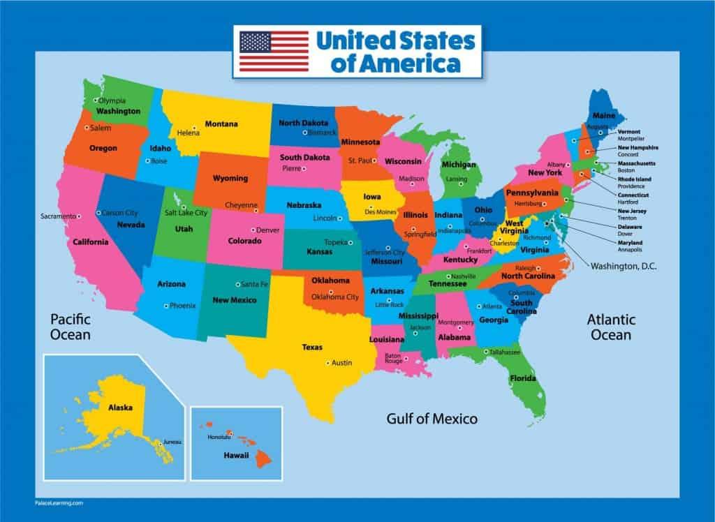 USA Map for Kids