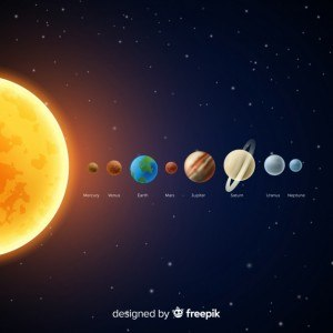 Classic solar system scheme with realistic