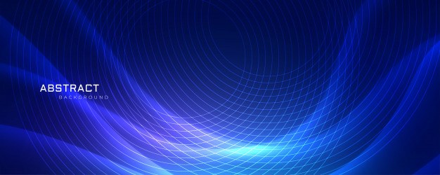 Abstrract blue wavy background with circular lines
