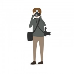 Character illustration of a guy taking a photo
