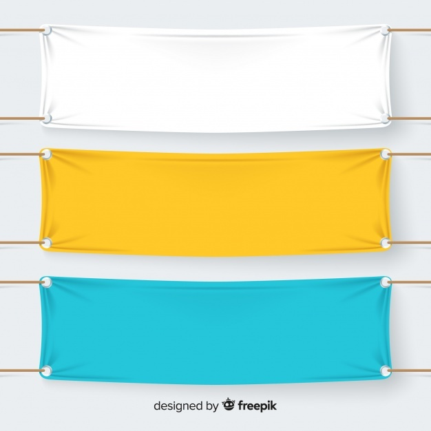 Collection of textile banners