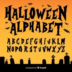 Creative halloween alphabet set