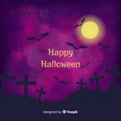 Dark purple halloween watercolor background