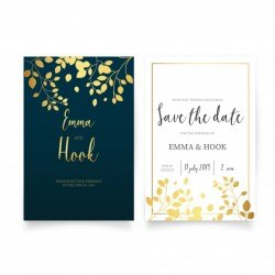Elegant Wedding Invitation with Golden Leaves