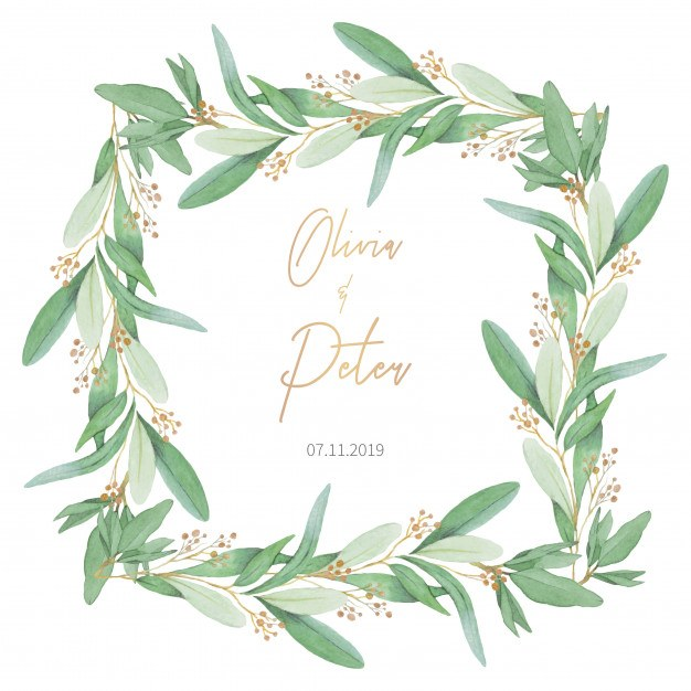 Lovely Wedding Frame with Olive Leaves