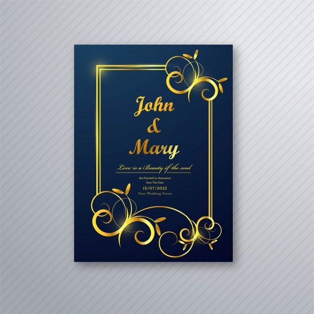 Luxury wedding card flyer template design