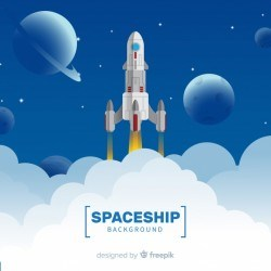 Modern spaceship background with flat design