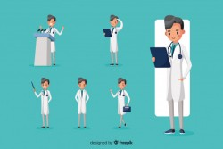Nice doctor doing different actions