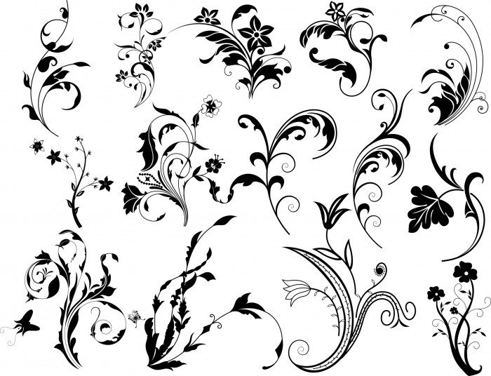 Swirl Floral Vectors Set