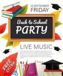 Back to school party flyer with fall foliage