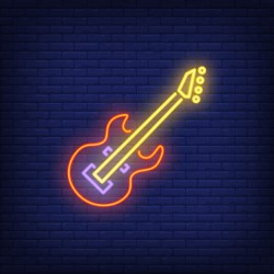 Bass guitar neon sign