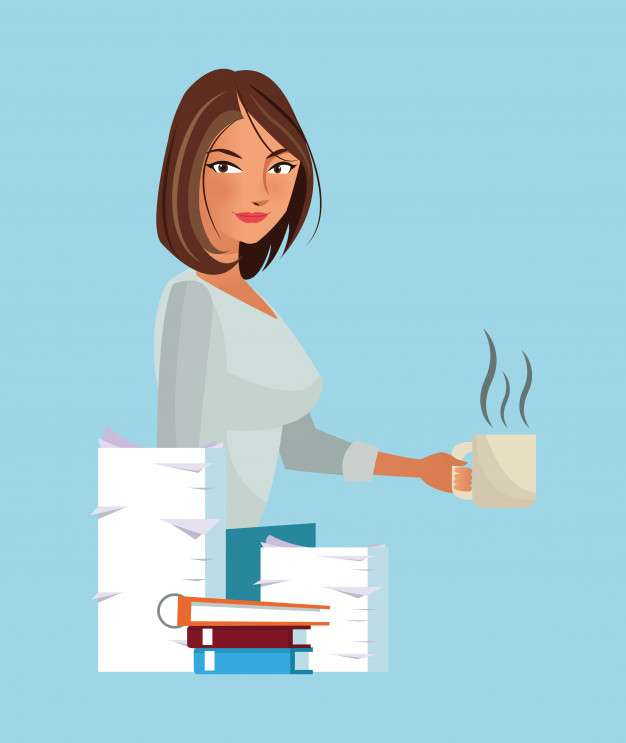 Business character with office elements