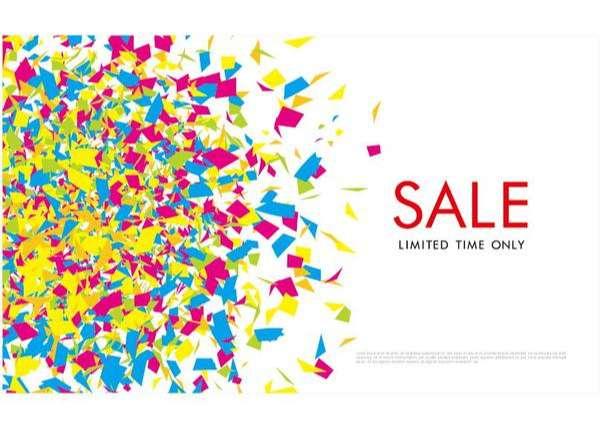 Colored confetti with sale background vector 05