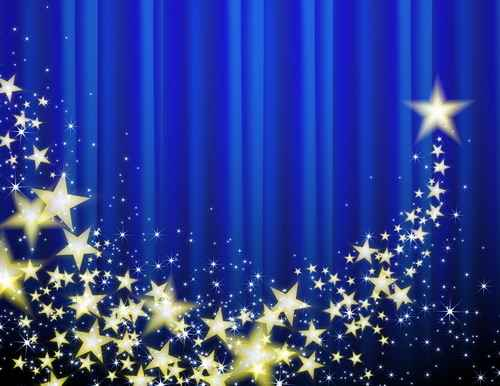 Blue curtain background with golden stars vector