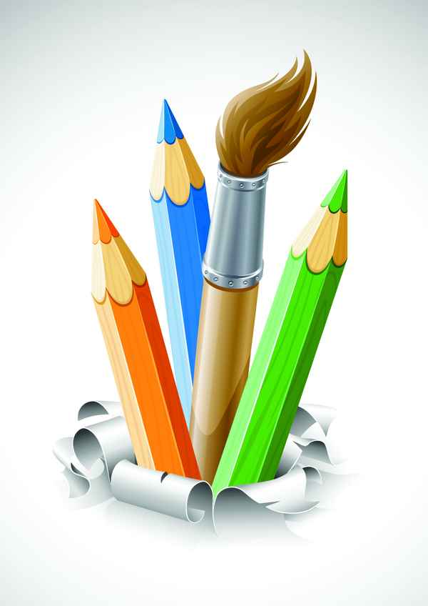 Paint pen with white background vector 01