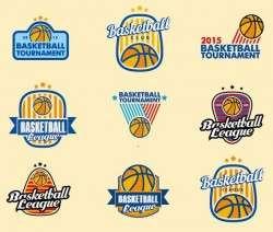 basketball logos set vector