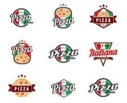 Italy pizza logos vector