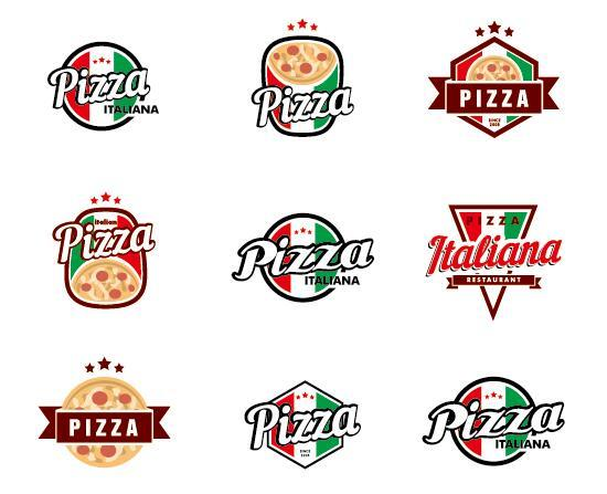 Italy pizza logos vector
