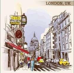 UK london painted sketch vector