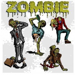 Cartoon zombie illustration vector set 02