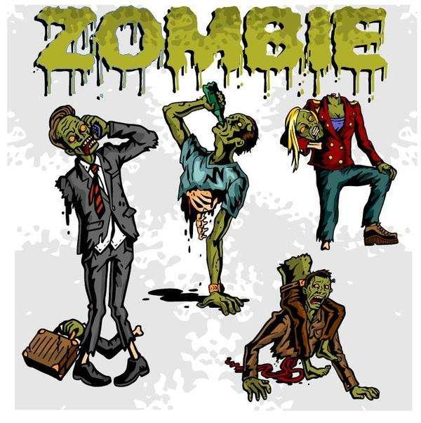 Cartoon zombie illustration vector set 02