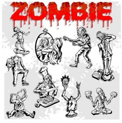 Cartoon zombie illustration vector set 05