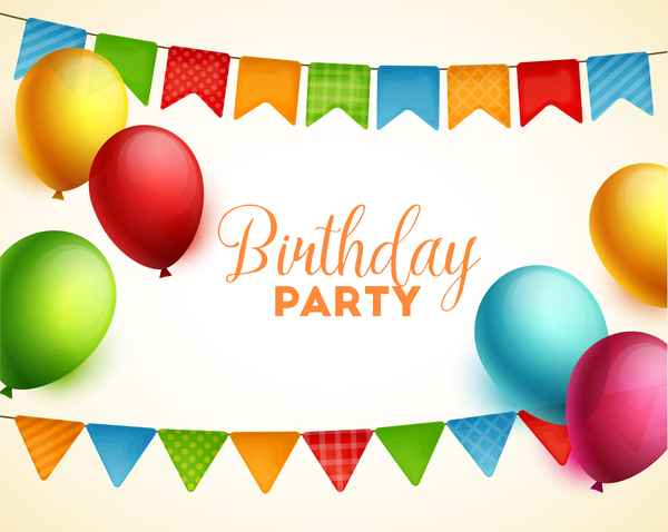 Gifts and sweets with birthday party background vector 02