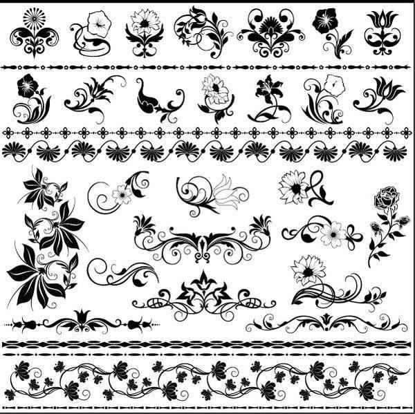 Floral ornaments with seamless borders vector