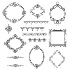 Lines frame with ornaments vector material