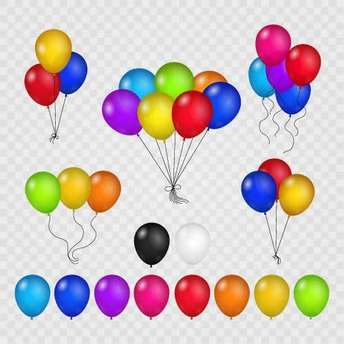 Set of colored balloon vector illustration