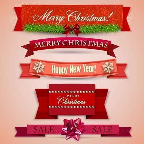 Christmas banner design vectors set 01