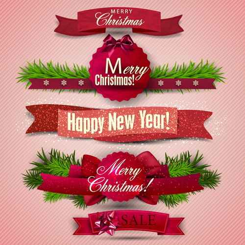 Christmas banner design vectors set 02