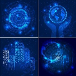 Blue tech background vectors 05