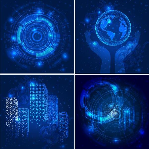 Blue tech background vectors 05