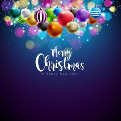Christmas balls with color xmas background vector