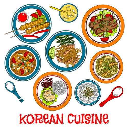 Korean food design vector 02